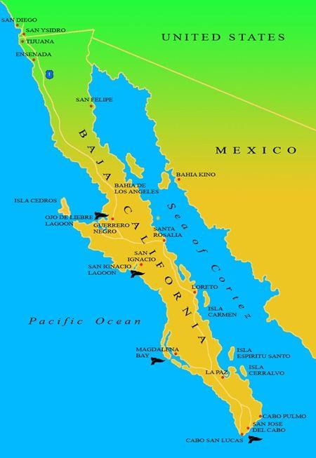 Baja California on a map.