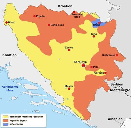 map bosnia and herzegovinia 3 reagions
